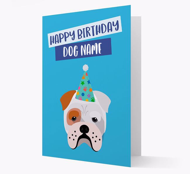 Personalized 'Happy Birthday Your Dog' Card with Bull Pei Icon