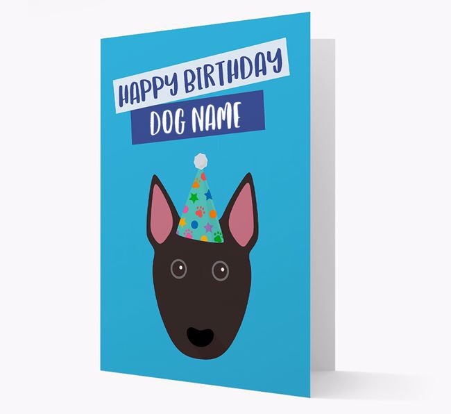 Personalised 'Happy Birthday Your Dog' Card with Bull Terrier Icon
