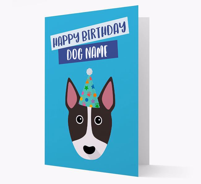 Personalized 'Happy Birthday Your Dog' Card with Bull Terrier Icon