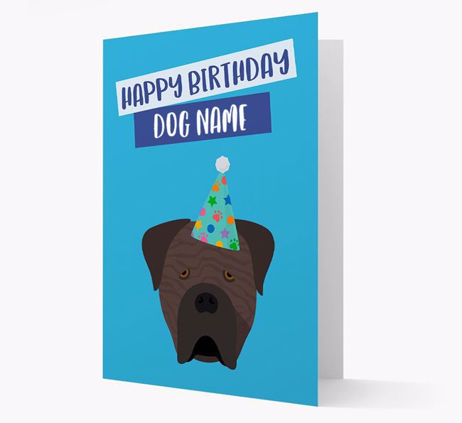Personalized 'Happy Birthday Your Dog' Card with Cane Corso Icon