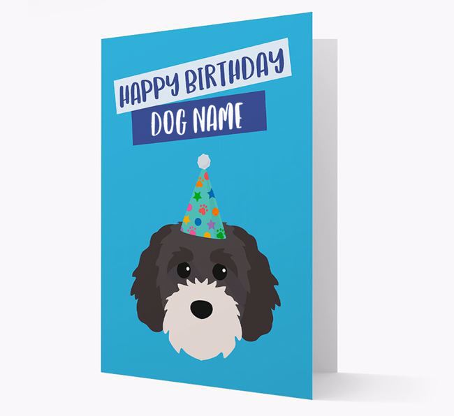 Personalized 'Happy Birthday Your Dog' Card with Cavapoochon Icon