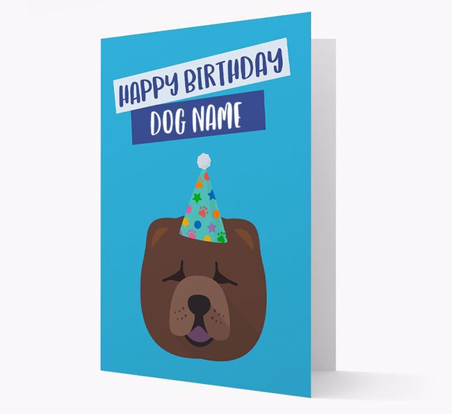 Personalized 'Happy Birthday Your Dog' Card with Chow Chow Icon