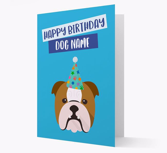 Personalized 'Happy Birthday Your Dog' Card with Bulldog Icon