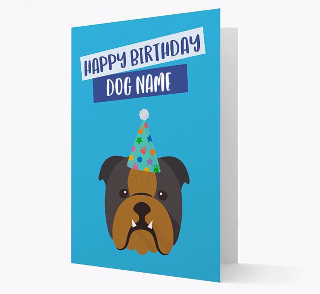 Personalised 'Happy Birthday Your Dog' Card with Bulldog Icon