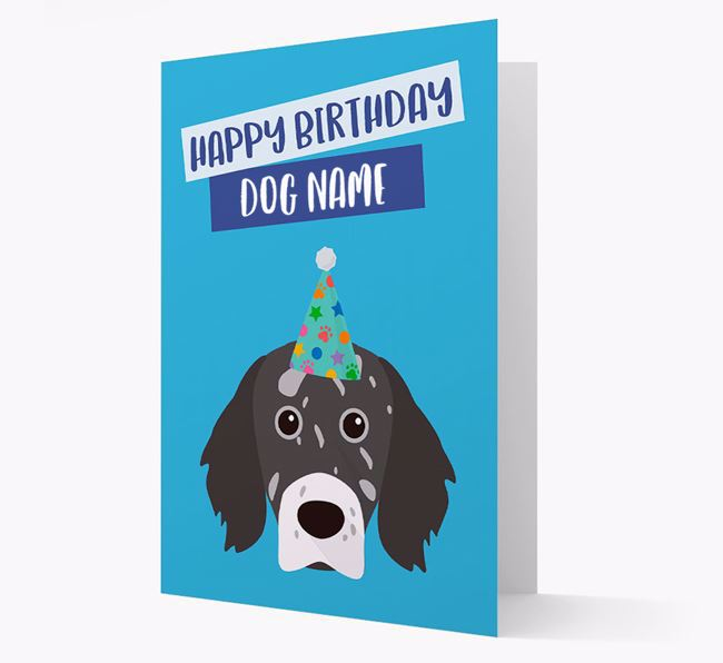 Personalized 'Happy Birthday Your Dog' Card with English Setter Icon