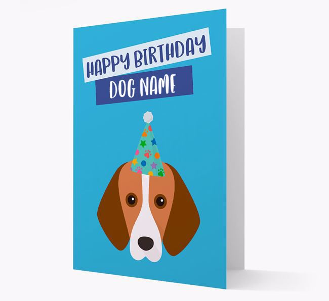 Personalised 'Happy Birthday Your Dog' Card with Foxhound Icon