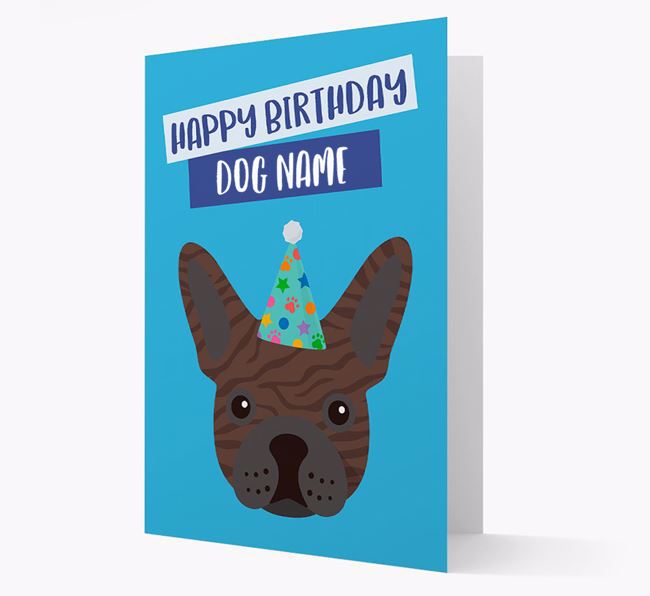 Personalised 'Happy Birthday Your Dog' Card with Frenchie Icon
