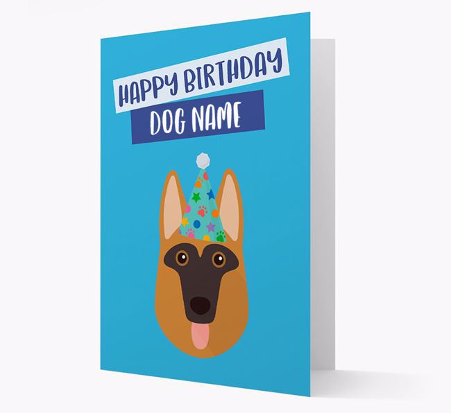 Personalized 'Happy Birthday Your Dog' Card with German Shepherd Icon