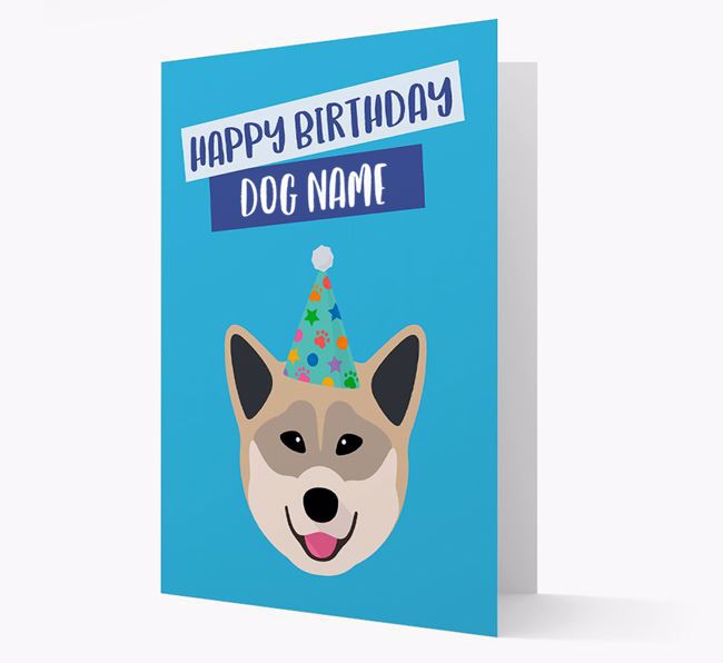 Personalized 'Happy Birthday Your Dog' Card with Greenland Dog Icon