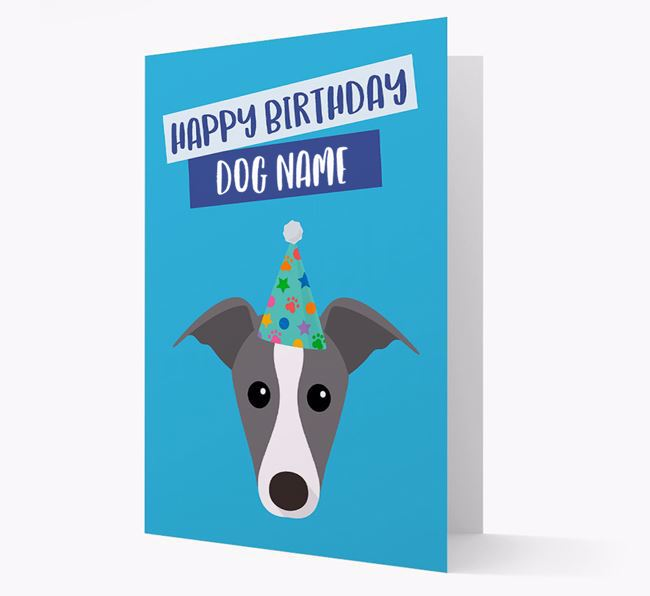 Personalised 'Happy Birthday Your Dog' Card with Greyhound Icon