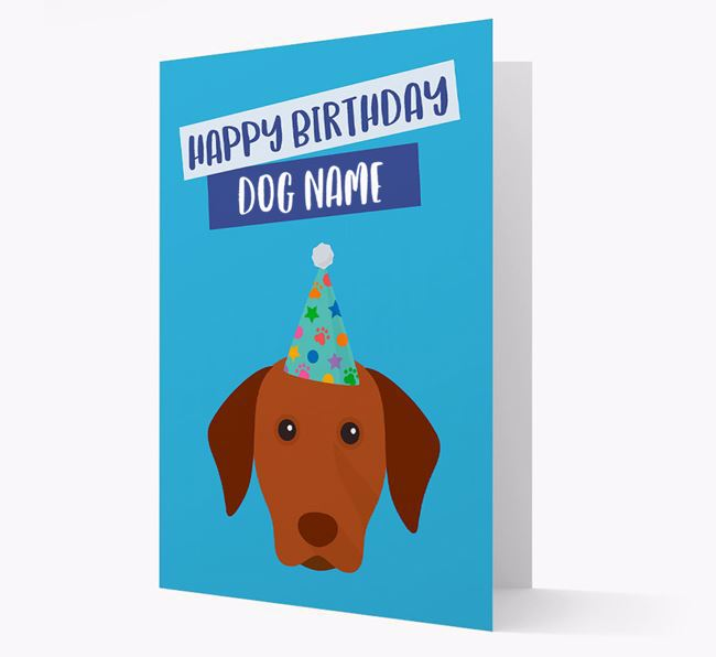 Personalized 'Happy Birthday Your Dog' Card with Vizsla Icon