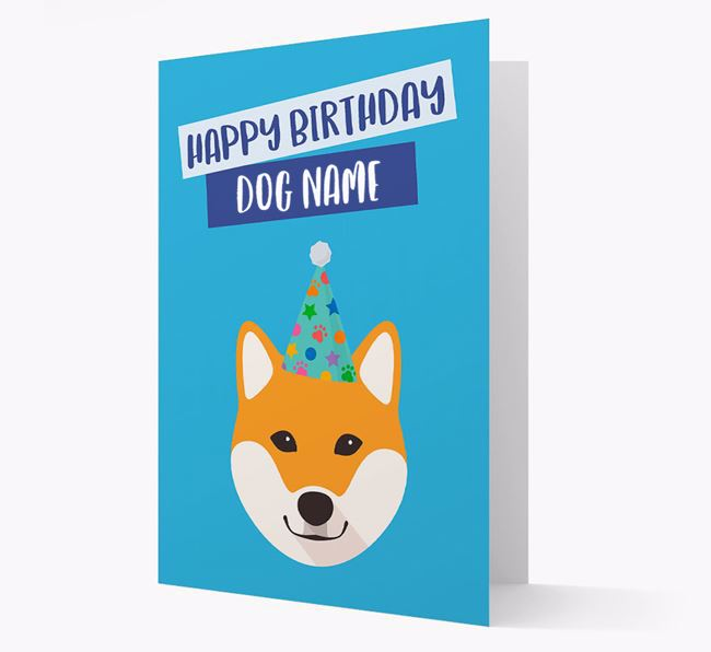 Personalized 'Happy Birthday Your Dog' Card with Shiba Inu Icon