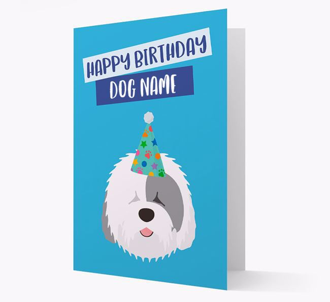 Personalized 'Happy Birthday Your Dog' Card with Sheepdog Icon