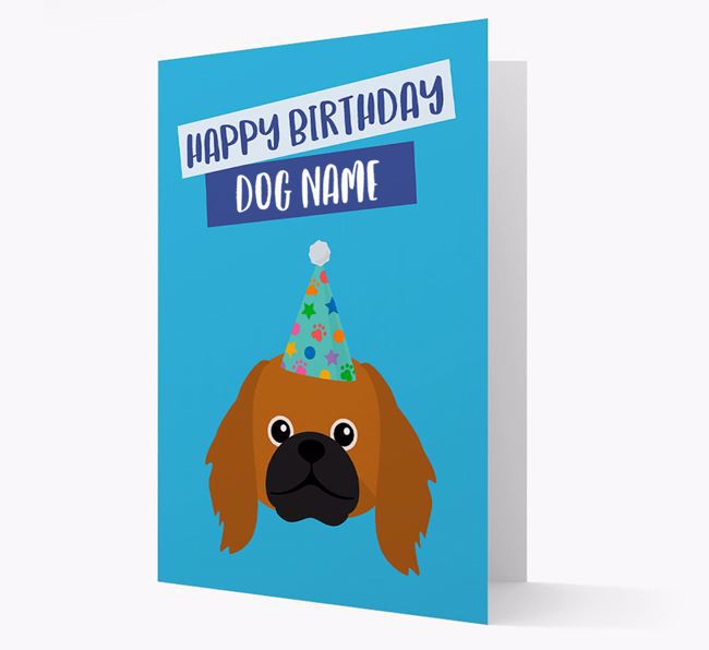 Personalized 'Happy Birthday Your Dog' Card with Pekingese Icon