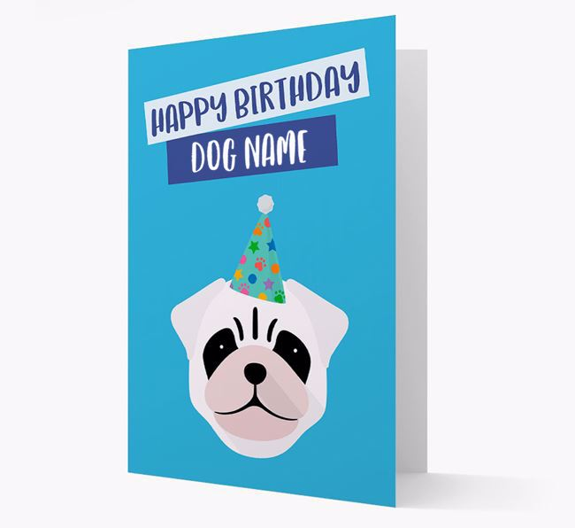 Personalised 'Happy Birthday Your Dog' Card with Pug Icon