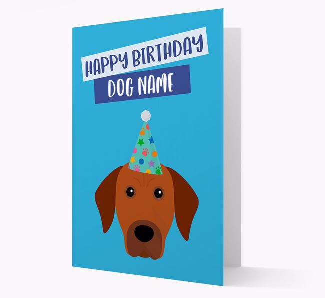Personalized 'Happy Birthday Your Dog' Card with Rhodesian Ridgeback Icon