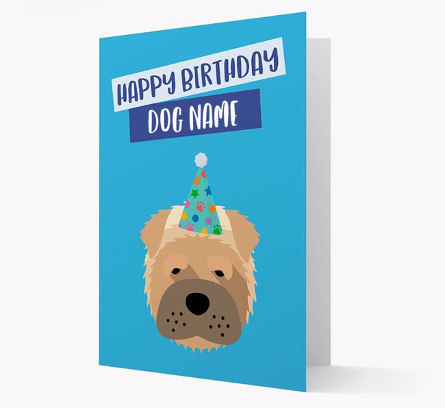 Personalized 'Happy Birthday Your Dog' Card with Shar Pei Icon