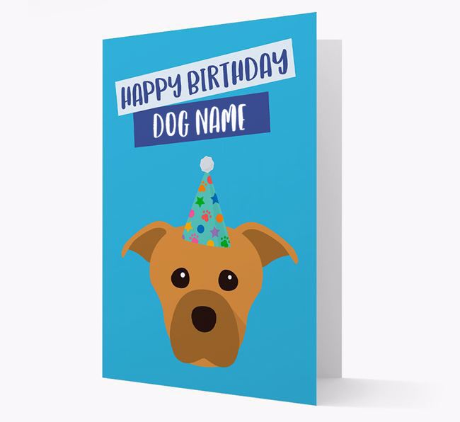 Personalized 'Happy Birthday Your Dog' Card with Staffie Icon
