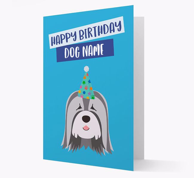 Personalized 'Happy Birthday Your Dog' Card with Tibetan Terrier Icon