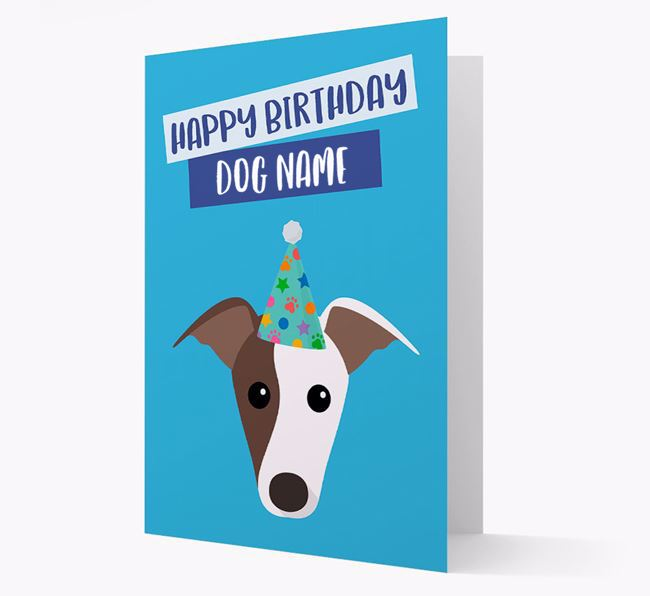 Personalized 'Happy Birthday Your Dog' Card with Whippet Icon