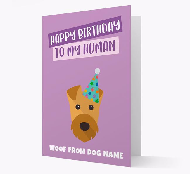 Personalized 'Happy Birthday To My Human' Card with Airedale Icon
