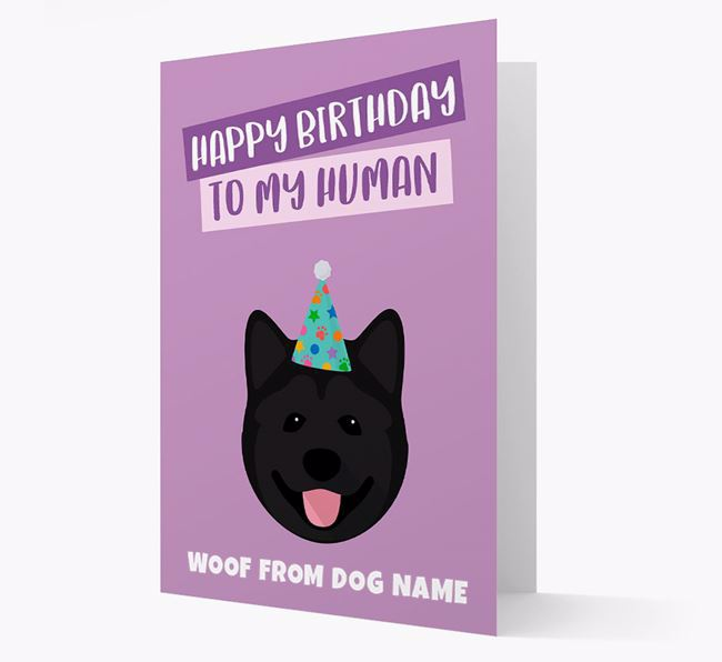 Personalized 'Happy Birthday To My Human' Card with Akita Icon