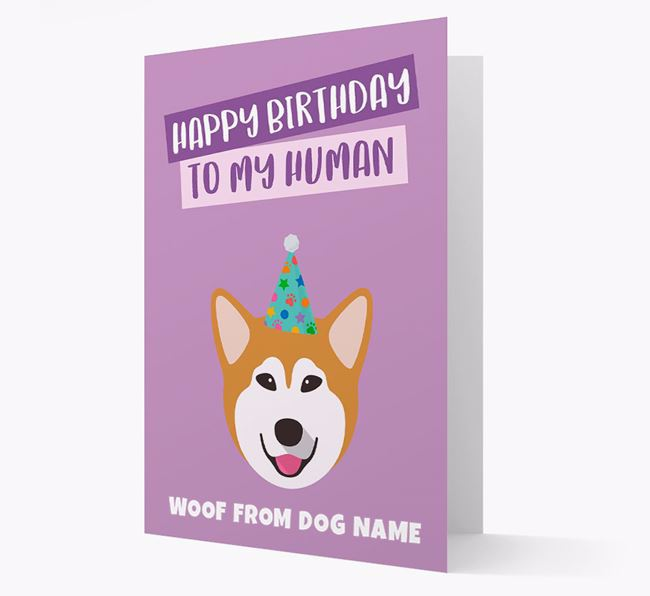 Personalised 'Happy Birthday To My Human' Card with Malamute Icon