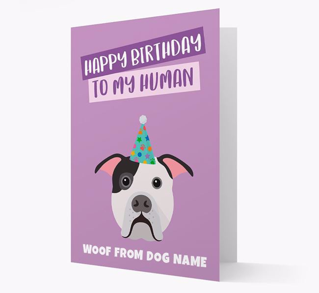 Personalized 'Happy Birthday To My Human' Card with American Bulldog Icon