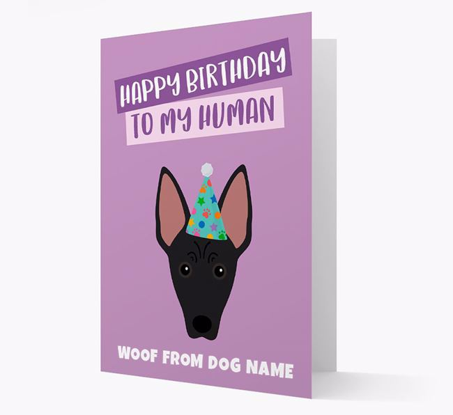 Personalized 'Happy Birthday To My Human' Card with American Hairless Icon
