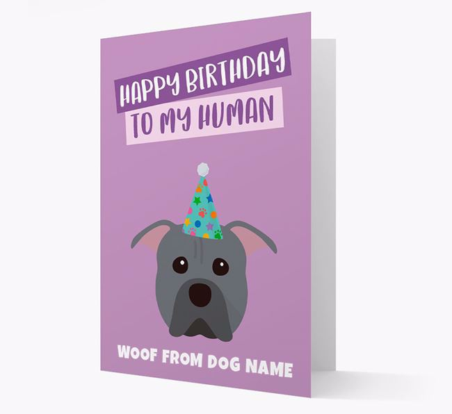Personalized 'Happy Birthday To My Human' Card with Pit Bull Terrier Icon