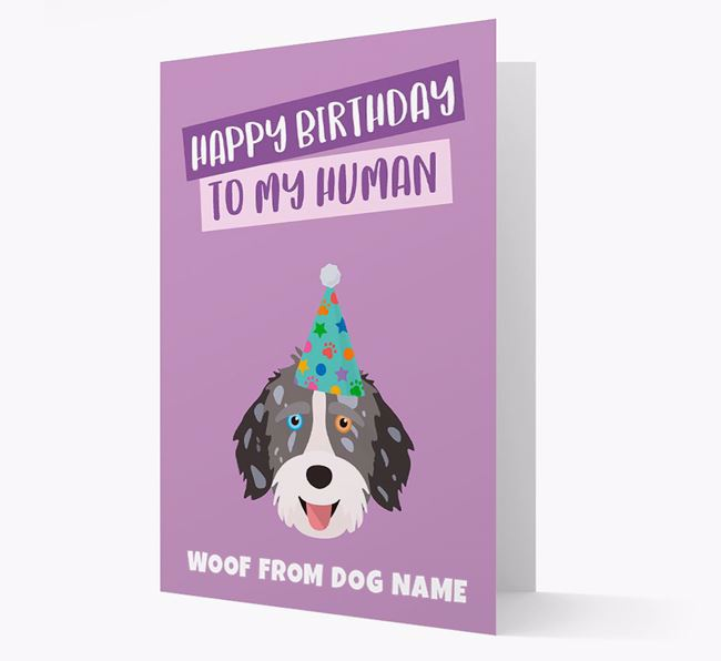 Personalised 'Happy Birthday To My Human' Card with Aussiedoodle Icon