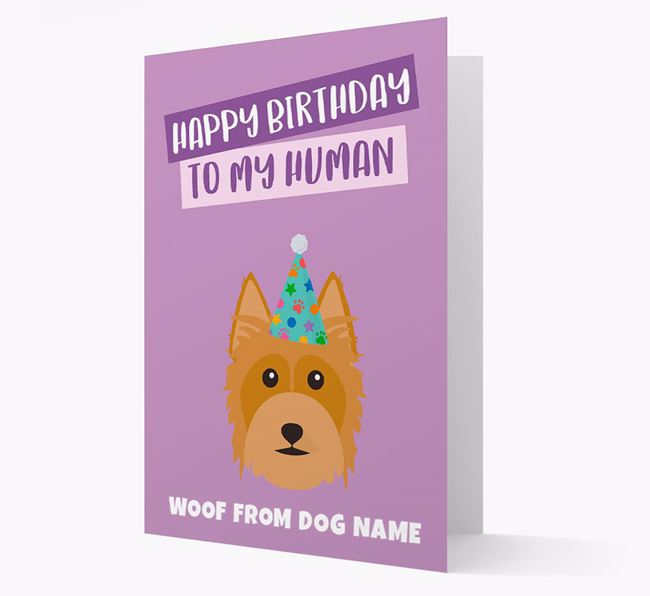Personalized 'Happy Birthday To My Human' Card with Silky Terrier Icon