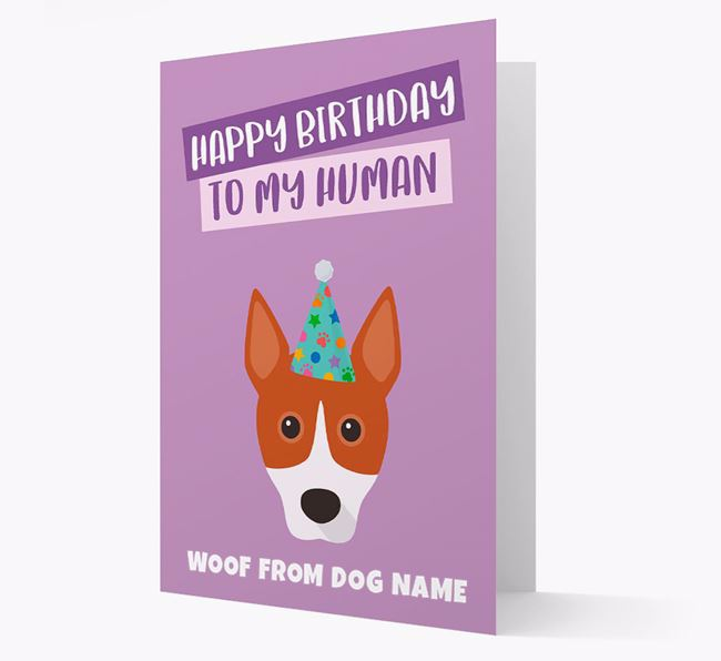 Personalized 'Happy Birthday To My Human' Card with Basenji Icon