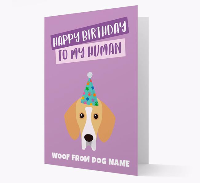 Personalised 'Happy Birthday To My Human' Card with Bassador Icon