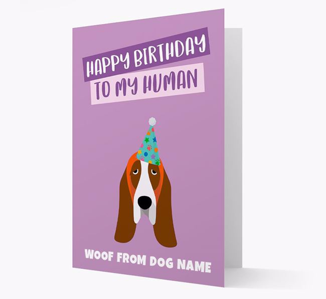 Personalized 'Happy Birthday To My Human' Card with Basset Hound Icon