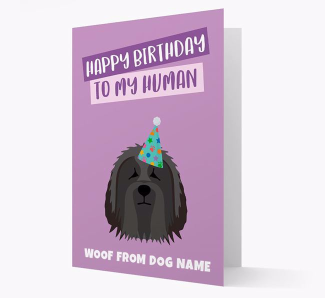 Personalized 'Happy Birthday To My Human' Card with Bearded Collie Icon
