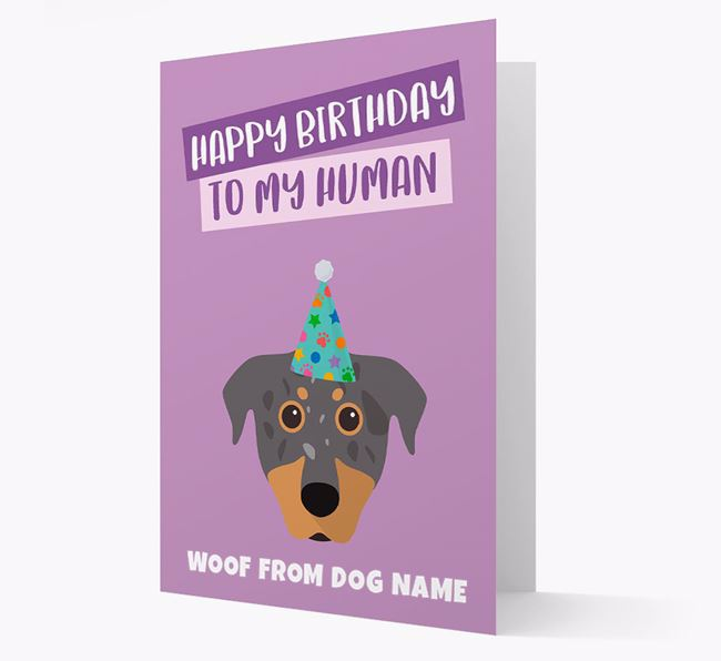 Personalized 'Happy Birthday To My Human' Card with Beauceron Icon