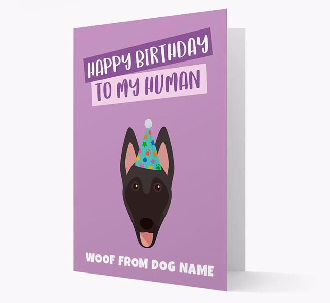 Personalised 'Happy Birthday To My Human' Card with Belgian Shepherd Icon
