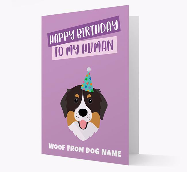 Personalized 'Happy Birthday To My Human' Card with Bernese Icon