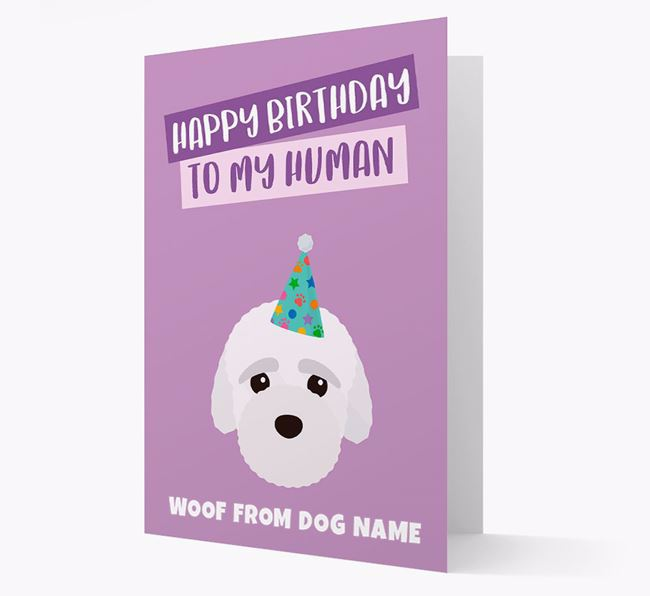 Personalized 'Happy Birthday To My Human' Card with Bich-poo Icon