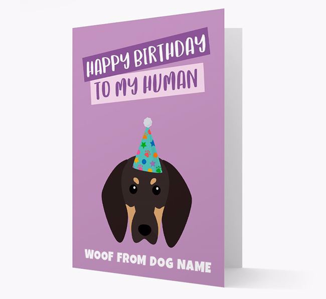 Personalised 'Happy Birthday To My Human' Card with Coonhound Icon