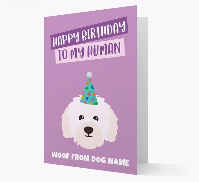 Personalised 'Happy Birthday To My Human' Card with Bolognese Icon