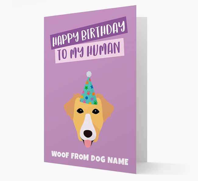 Personalized 'Happy Birthday To My Human' Card with Borador Icon
