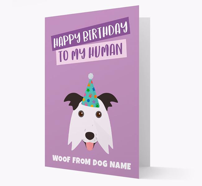 Personalized 'Happy Birthday To My Human' Card with Border Collie Icon