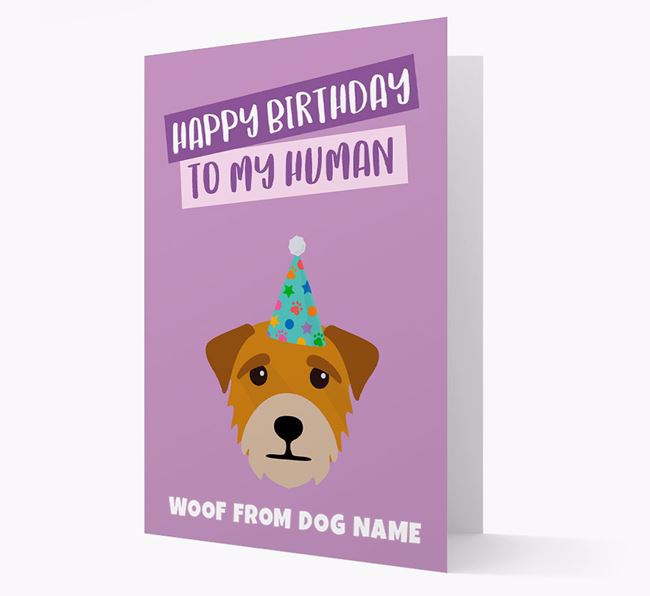 Personalized 'Happy Birthday To My Human' Card with Border Terrier Icon