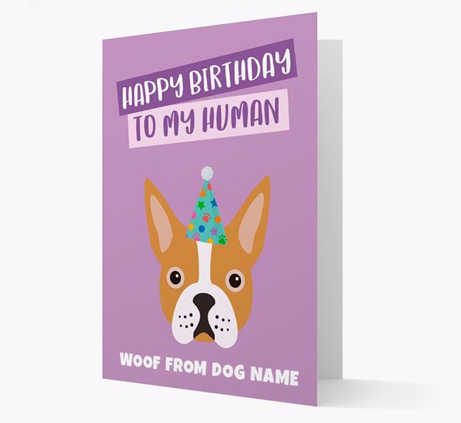 Personalized 'Happy Birthday To My Human' Card with Boston Terrier Icon