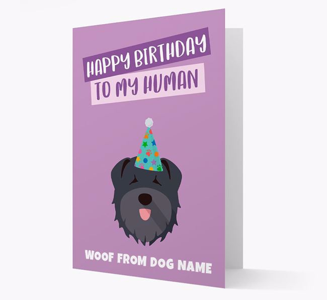 Personalised 'Happy Birthday To My Human' Card with Bouvier Des Flandres Icon