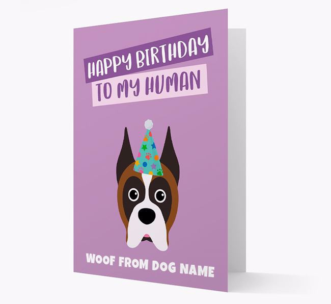 Personalized 'Happy Birthday To My Human' Card with Boxer Icon