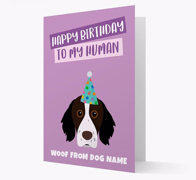 Personalised 'Happy Birthday To My Human' Card with Brittany Spaniel Icon