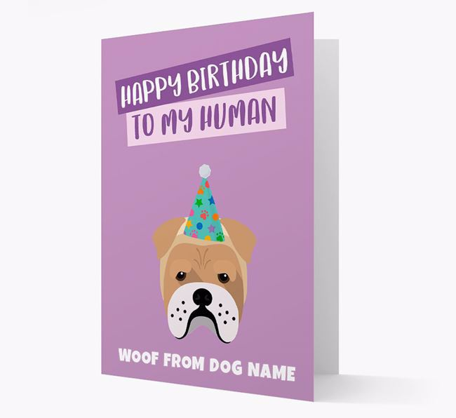 Personalized 'Happy Birthday To My Human' Card with Bull Pei Icon